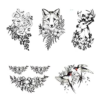 5 Sheets different temporary fake tattoo flowers and animal deer and bird waterproof temporary tattoo stickers are suitable for adult and children body art party decoration