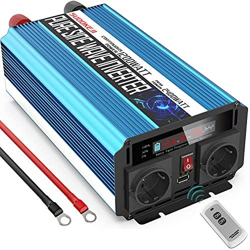 SUDOKEJI 1200W Reiner Sinus Wechselrichter/12v auf 230v Spannungswandler KFZ/Reiner Sinus Inverter 12v auf 230v Wandler mit LCD-Bildschirm & Dual EU Steckdose & 2.4A USB & Fernbedienung