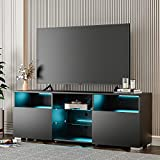 IKIFLY Black TV Stand w/Lights Modern LED TV Stand w/Remote Control High Gloss Media Console for 60 Inch TV Entertainment Center with 3 Layers, 2 Doors and Open Shelf