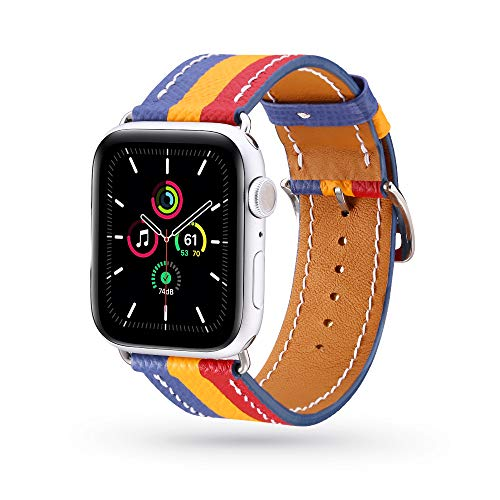 AULPACO Pulseira de couro compatível com Apple Watch SE Series 6 38 mm 40 mm 42 mm 44 mm, pulseira de substituição clássica de couro genuíno compatível com iWatch 6/5/4/3/2/1