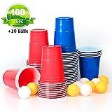 MOZOOSON 100x Trinkbecher Beer Pong Becher Partybecher Set Rot und Blau 473ml Bier Pong Cups mit...