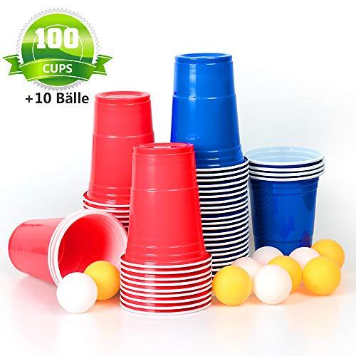 MOZOOSON 100x Trinkbecher Beer Pong Becher Partybecher Set Rot und Blau 473ml Bier Pong Cups mit Bällen, 16oZ für Getränke Party Camping Cocktail Bier Neues Jahr Weihnachten Geburtstag Festivals