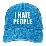 Lsjuee I Hate People Gorra de Mezclilla Deportiva ajustableCasquettes Unisex PlainCowboy Hat Negro