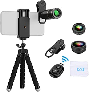 Phone Camera Lens Kit, 4 in 1 Cell Phone Lens, 16X Telephoto Lens 0.63X Wide Angle 15X Macro 198° Lens with Tripod And Blu...