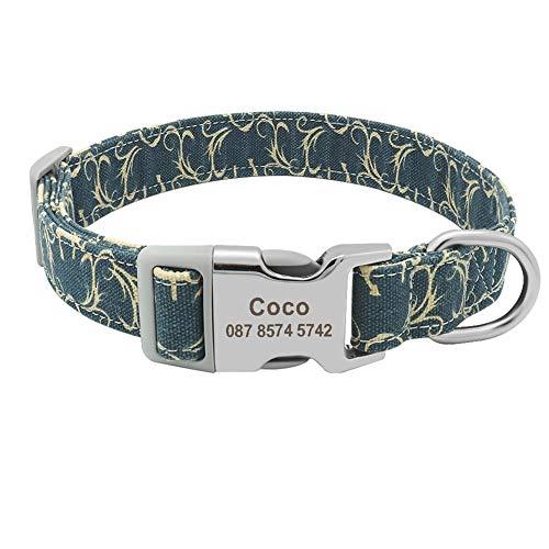 Individuelle Hundehalsband Nylon Floral gravierte Haustier-Welpen-Kragen-Druck-personalisierter Namenshalsbänder for Small Medium Large Hunde Pitbull (Color : Blue 8, Size : S)