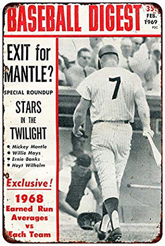 Harvesthouse Mickey Mantle Baseball Digest 1969 Vintage Reproduction Metal Sign 8 x 12 by