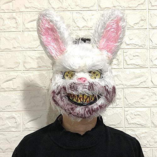 XWYWP Mscara de Halloween Halloween Temoroso Ltex Animal Cabeza de Lobo con Mscara de Pelo Disfraz de Fiesta Mscara de Terror Adulto/Nios Conejo