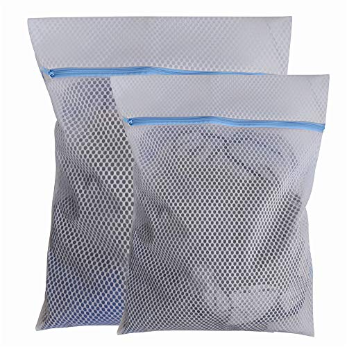 STARUBY Mesh Wäschesack Reisewäschesack Wäschesack für die Waschmaschine 2 Stück Haltbarer Netz-Wäschebeutel mit Reißverschluss für Empfindliches, Bluse, Unterwäsche, Socken, 1 Groß 1 Mittel,Blau