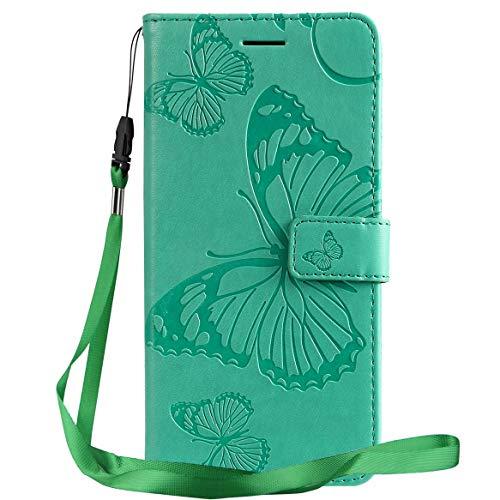 Yiizy Handyhüllen für LG G8X ThinQ Ledertasche, 3D Schmetterling Stil Lederhülle Brieftasche Schutzhülle für LG G8X ThinQ hülle Silikon Cover mit Magnetverschluss Kartenfächer (Grün)