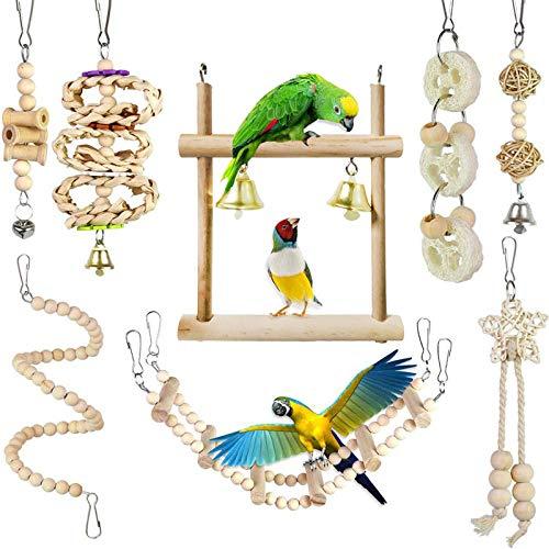 Chikanb Juguetes para Pajaros, 8 Piezas Juguetes de Ave Colorida para Masticar, Hamaca de Madera, Pájaro Columpio de Juguetes, Que Cuelga la Perca Juguete para Pequeños y Medianos Loro de Aves