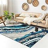 Alfombra Despacho Azul La alfombra de la sala de estar de la sala de estar, la alfombra moderna abstracta, es fácil de limpiar Alfombras De Habitacion Niño 60x90cm Alfombra Salon 1ft 11.6''X2ft 11.4''