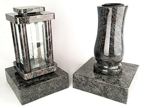 designgrab Modern Grablampe mit Vase und 2 Stück Sockel aus Granit Orion Blue/Vizac Blue, Grabschmuckset