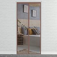 磁気スクリーンドア、 80x200cm 穴あけなしの マグネット式 網戸 接着剤取り付け、 適用 玄関/寝室/勝手口/部屋/ベランダ/キッチン に, ブラウン