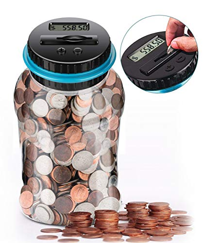 GIFTiz Digital Coin Counting Money Saving Jar Change Counter Piggy Bank for Kids & Adults | Supports All US Coins - Pennies, Nickels, Dimes, Quarters, Half Dollars