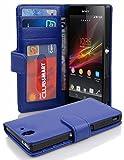 Cadorabo Hülle für Sony Xperia Z - Hülle in Neptun BLAU – Handyhülle mit 3 Kartenfächern - Case Cover Schutzhülle Etui Tasche Book Klapp Style