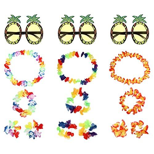 TOYANDONA 3 Sets Hawaiian Lei Flower Garlands Neck Loop Bracelet Pineapple Eyeglasses