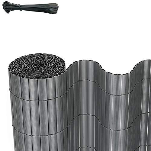 FIXKIT PVC Sichtschutzmatte Sichtschutzzaun Wetterfest Verstärkt Sichtschutz,Dekorativer Kunststoffzaun für Garten, Balkon und Terrasse,mit Kabelbindern,90x300cm,grau