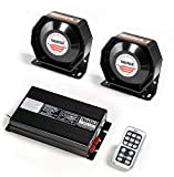 YHAAVALE Car Police Siren 400W Signal Division PA System 940 Wireless Amplifier+2pcs Ultra Slim Metal Speaker Electronic Emergency Horn Sound System for Police Cars Fire Trucks