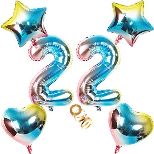 Globos con número 22, número 22, arco iris 22, 22, 80 cm, XL para niñas, niños, hinchables, corazón de helio, estrella, globo, fiesta de cumpleaños