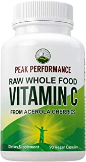 Sponsored Ad - Raw Whole Food Natural Vitamin C Capsules from Acerola Cherry + 25 Organic Vegetables + Fruits for Max Abso...