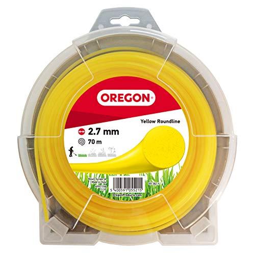 Oregon 69-382-Y Hilo de cortacésped Redondo Amarillo para cortadoras de césped y desbrozadora, 2,7 mm x 70 m, 2.7mm x 70m