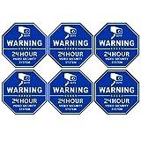 CCTV Video Surveillance Security Door & Window Stickers, Blue Octagon-Shaped, 3.3 X 3.3 Inch Vinyl Decals - Indoor & Outdoor Use, UV Protected & Waterproof - 6 Labels