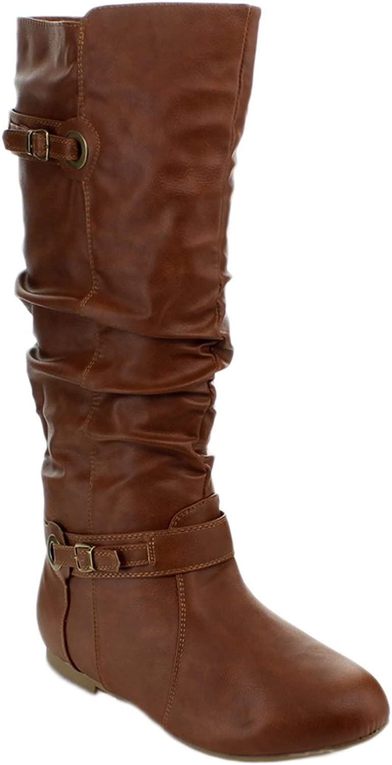 Top Moda NIGHT-82 Women's Knee High Buckle Slouched Boots, color TAN, Size 6