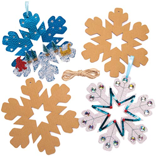 Baker Ross Copo De Nieve Artesanía Coronas Navidad (Pack de 10) para manualidades y decoraciones navideñas