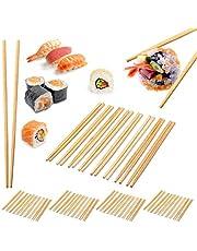 Relaxdays 50 par ätpinnar, kinesiska ätpinnar, livsmedelssäker, engångs hopsticks-set, 24 cm lång, bambu, natur