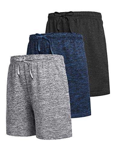 Boyoo Boys 3 Pack Athletic Shorts Dry Fit Youth Active Performance Basketball Shorts with Pockets