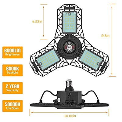 Motion Sensor LED Garage Lights-60W 6000LM LED Garage Lighting-E26/E27 Deformable Garage Ceiling Lighting, LED Shop Lights, LED Light Bulbs,LED work lights , LED High Bay Light for Basement, Workshop