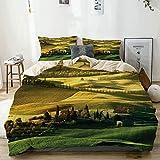 Juego de funda nórdica beige, pacífico paisaje de Pienza Toscana viñedos Meadow Hill Ancient House, juego de cama decorativo de 3 piezas con 2 fundas de almohada Fácil cuidado antialérgico suave suave