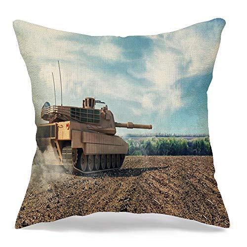 Starofeb Throw Pillow Cover Abrams Heavy Tank Battlefield Rendering Miscellaneous Technology 3D Engineering Modern Armed Armor Modern Linen Decorative Pillow Cushion Case Home Decor 20 x 20 Inch