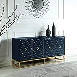 Best Master Furniture Tabitha High Gloss Lacquer Sideboard/Buffet, Navy Blue