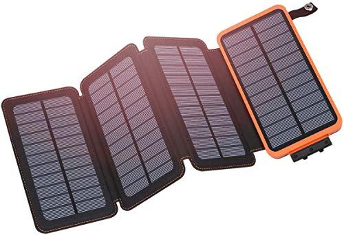 Hiluckey Cargador Solar 25000mAh, Portátil Power Bank con 4 Paneles Solar Dual Puertos USB 2.1A Carga Rápida Impermeable Batería Externa para Smartphones, Tabletas y Acampar al Aire Libre