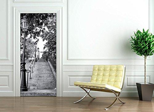 Ambiance-Live Sticker Porte 204 x 83 cm - Escalier Parisien