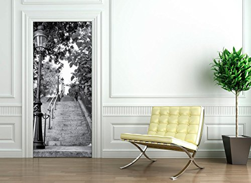 Ambiance-Live Adhesivo para Puerta, diseño de Escalera parisina, 204 x 83 cm