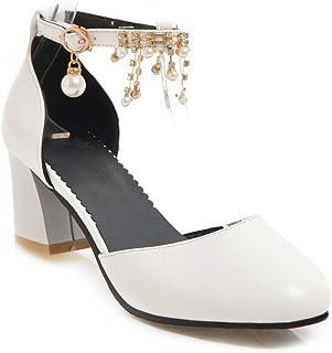BalaMasa Womens ASL06548 Pu Block Heels