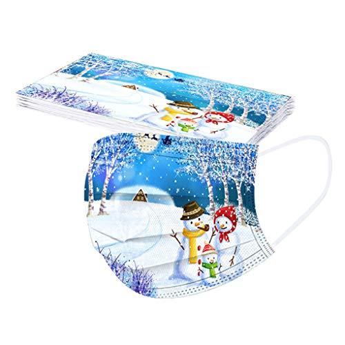 SicongHT 10 Stück Herren Damen Mundschutz Einweg Erwachsene Atmungsaktive mit niedlich Schneemann Weihnachtsbaum Weihnachtsmann Eisbär Weihnachtsbaum Mund-Nasenschutz(10 Stück,F)