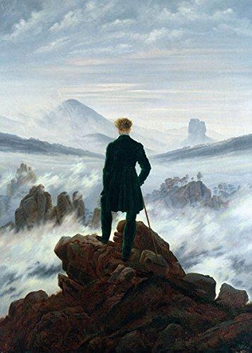 Caspar David Friedrich Wanderer über dem Nebelmeer, 70x50cm, Bild auf MDF-Platte, Rand schwarz