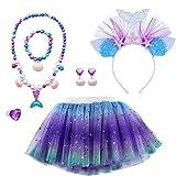 MMTX Kostüme Tutu Rock Geschenk Set zum Mädchen Dress Up Meerjungfrau Cosplay Party 6 Stück Schmuck Meerjungfrau Stirnband Halskette Armband Ring Ohrring 3-8 Jahre Mädchen Geburtstags (Large)