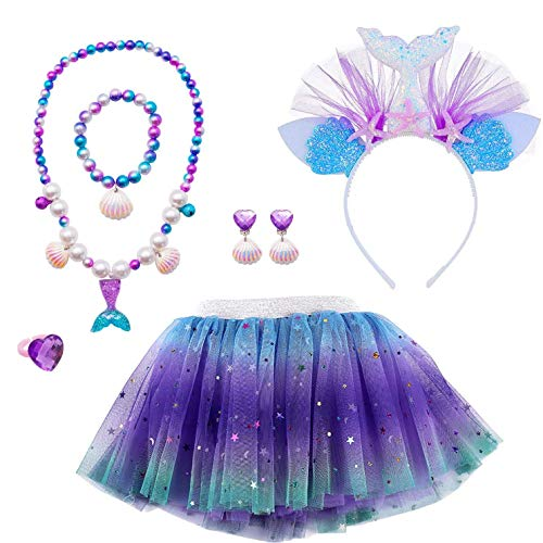 MMTX Gonna Tutu Costume Regalo Set per Ragazze Travestimento Sirena Cosplay Festa Gonna da Ballo 6 Pezzi Sirena Gioielli Fascia per Capelli,Collana,Bracciale,Anello,Orecchini 3-8 Anni Ragazze (L)