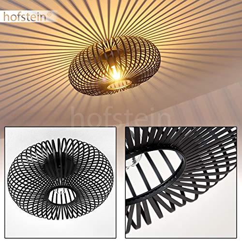 Deckenleuchte Ovari, runde Deckenlampe aus Metall in Schwarz, 1-flammig, E27-Fassung max. 60 Watt, Leuchte mit tollen Lichteffekten an der Decke, LED geeignet