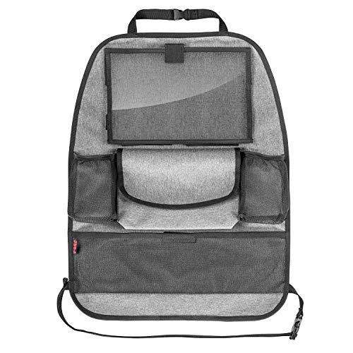 reer Autorücksitz-Organizer TravelKid Entertain, mit Tablet-Fach, schmutzabweisend, viele Taschen, für alle Autositze, auch Sportsitze, grau