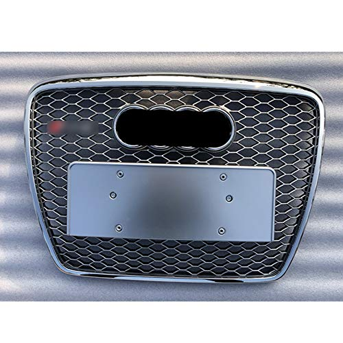 Front apron Grille, for A6 C6 S6 4F SFG 05-11Netz Hood Grill Racing Grille Euro License plate Holder Grille for RS6 style,All silver3