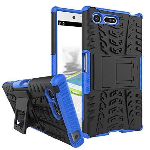 pinlu Funda para Sony Xperia X Compact (4.6 Pulgada) Smartphone Doble Capa Híbrida Armadura Silicona TPU + PC Armor Heavy Duty Case Duradero Protección Neumáticos Patrón Azul