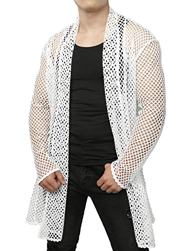 JOGAL Men's Mesh Fishnet Fitted Muscle Cardigan XX-Large WG05 White