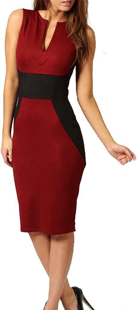 Wenli Sleeveless Contrast Color Sexy Business Pencil Dresses for Women