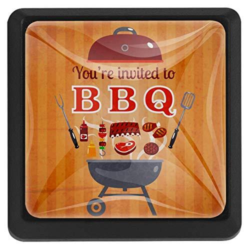 Bennigiry BBQ Party Einladung Flyer Doodle Quadratische Kristallglas Schranktürknauf Ziehgriffe ergonomisch Schubladengriffe 3 Stück