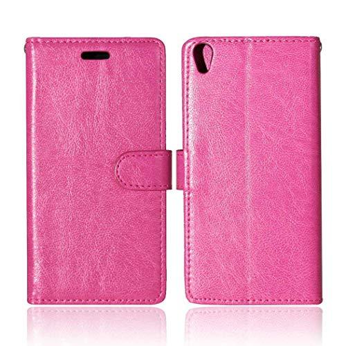 Sony Xperia XA Hülle, CAXPRO® Handyhülle Premium Leder Brieftasche Flip Schutzhülle mit Standfunktion und Kartenfach für Sony Xperia XA, Rose Rot
